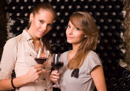 cellar: Portrait of two beautiful brunette women tasting red wine in the cellar.