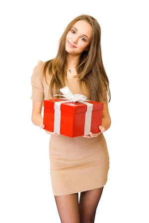 half  length: Half length portrait of a beautiful young brunette posing with bright red gift box, isolated on white background Stock Photo