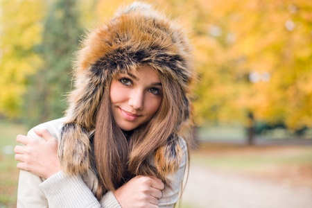 Portrait of gorgeous young model dressed up for chilly weather. photo