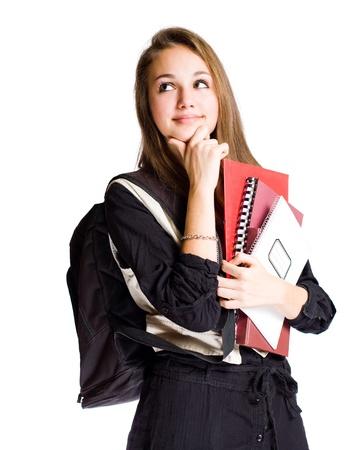 estudiantes de secundaria: Retrato de una joven estudiante de linda joven con gesto de reflexionar.