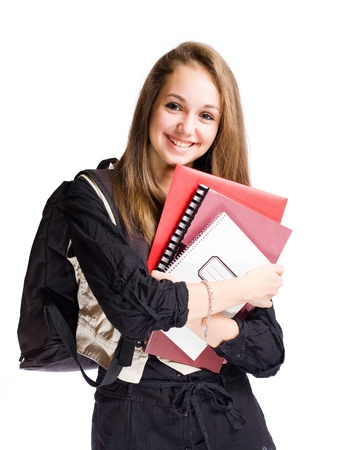 Half length portrait of a happy student girl isolated on white background. photo
