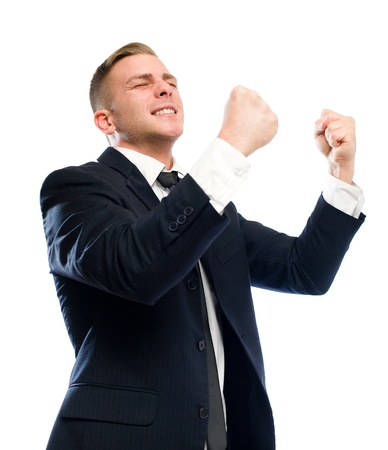 Young businessman gesturing victory, isolated on white background. photo