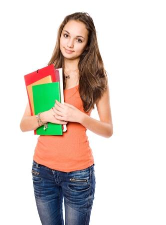 hispanic student: Retrato de una atractiva muchacha esbelta joven estudiante morena.
