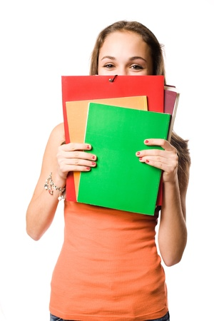 half  length: Half length portrait of a cute shy young student girl. Stock Photo