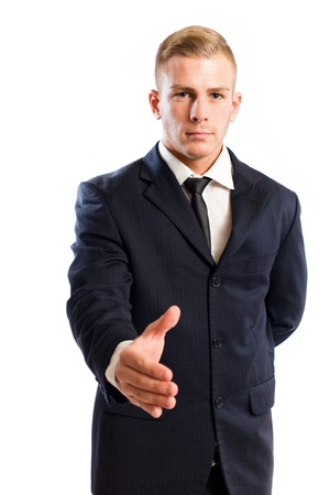 introductions: Half length portrait of an elegant young businessman doing introductions. Stock Photo
