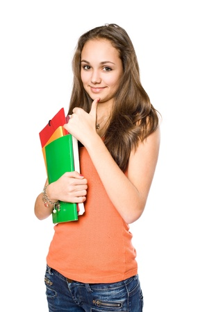 university sign: Very colorful young student girl showing thumbs up isolated on white background. Stock Photo