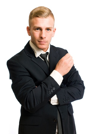 Portrait of a confident young businessman with thoughtful gesture Stock Photo - 12622055