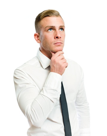 Half length portrait of a thoughtful young businessman on white Stock Photo - 12621962