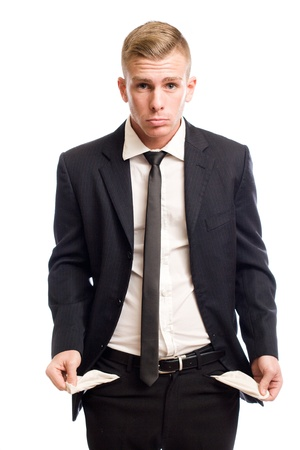 empty pockets: Elegant young businessman shpwing the result of chapter 7 bankruptcy  Stock Photo