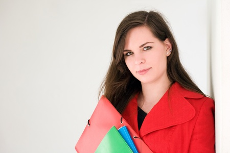 Young and colorful, portrait of beautiful colorful young brunette student girl  photo