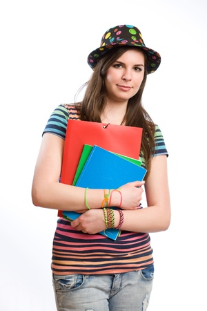 Half length portrait of a cute colorful young student girl. photo