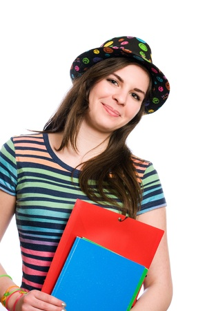Half length portrait of a smiling young student girl in very colorful clothes photo