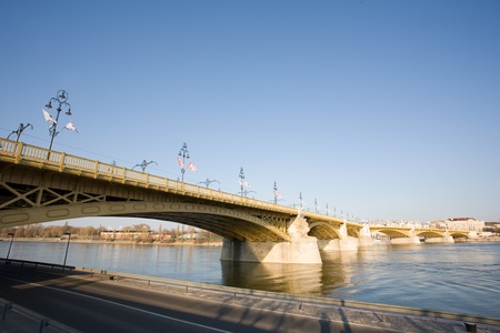 Scenic view of the recently renewed Margit bridge in Budapest. Stock Photo - 13119148