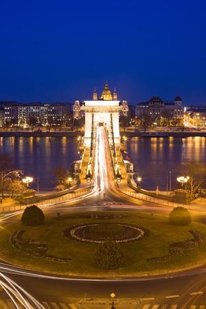 Long exposure shot of the Chain Bridge at night in Budapest Hugary. photo