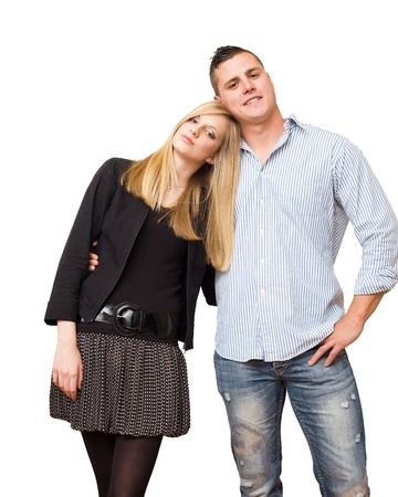 Portrait of a relaxed attractive fashionable young student couple. photo