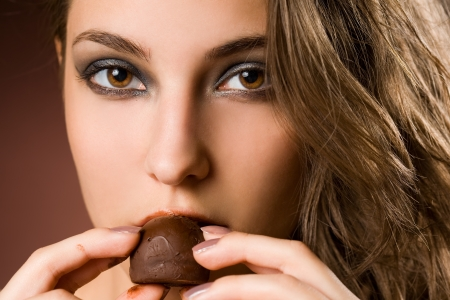 Portrait of a sensual brunette chocolate girl  photo