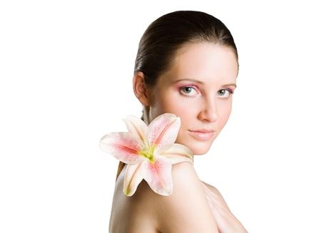 beauty shot: Beauty shot of gorgeous young brunette woman. Stock Photo