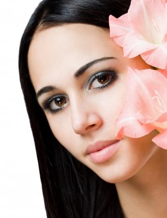 beauty shot: Gorgeous brunette beauty shot isolated on white background.