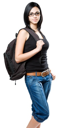 black belt: Portriat of a fun young student girl with backpack. Stock Photo