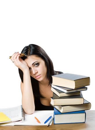 Portriat of a very tired looking young student woman. Stock Photo - 14838434