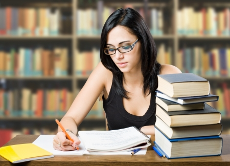 choose university: Portrait of attractive young brunette student girl  Stock Photo