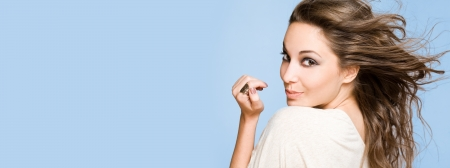 top model: Large banner with portrait of gorgeous cheerful happy brunette. Stock Photo