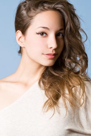 Closeup studio portrait of a striking brunette beauty  Stock Photo - 15323992