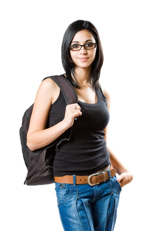 black belt: Portrait of a fashionable young brunette student isolated on white background. Stock Photo