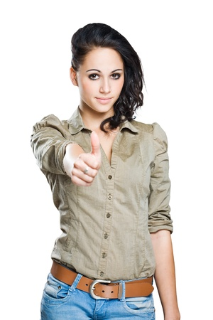 Portrait of a gesturing young brunette isolated on white background. photo