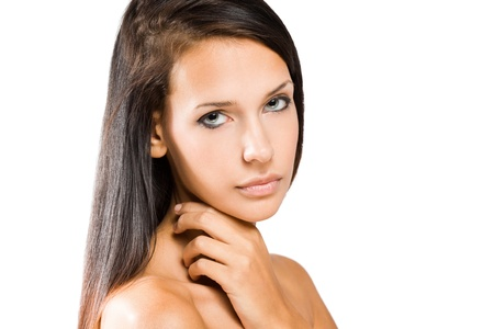 Portrait of a beautiful tanned young brunette woman. Stock Photo - 15896779