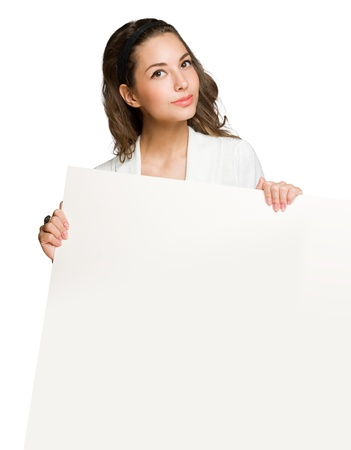 sexy asian girl: Brunette beauty holding large white empty billboard.