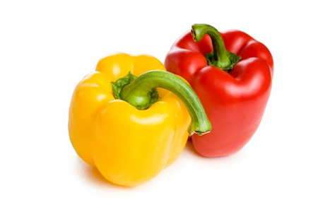 bell peppers: Healthy colorful bell peppers isolated on white background.