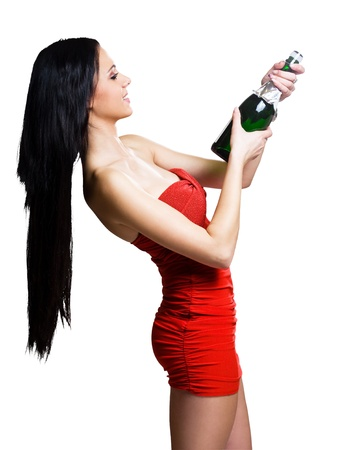 Gorgeous young brunette woman ready to celebrate with champagne.