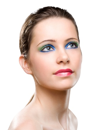 Portrait of feminine beauty in very colorful creative makeup. Stock Photo - 16609481