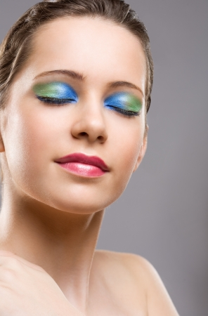 Elegant dreamy beauty in colorful special makeup. Stock Photo - 16610658
