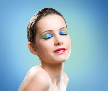 Very colorful cosmetic makeup portrait of young beauty. Stock Photo - 16661401