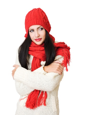 Portrait of a gorgeous happy young winter fashion cutie Stock Photo - 16903990