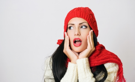 Portrait of shocked looking gorgeous brunette fashion girl Stock Photo - 16904001