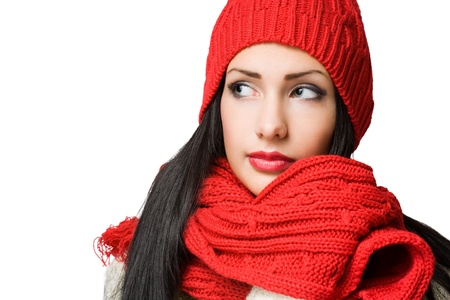Closeup portrait of a winter fashion brunette beauty  photo