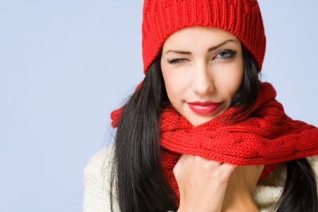 Portrait of a gorgeous happy young winter fashion cutie  photo