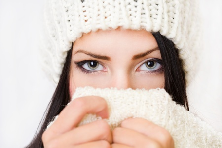 Closeup portrait of a shy winter fashion beauty  Stock Photo - 17016867