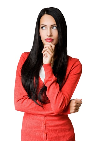 sideways glance: Half length portrait of attractive slender young business woman in pensive pose  Stock Photo
