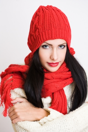 Portrait of a beautiful cute winter fashion girl. Stock Photo - 17368115