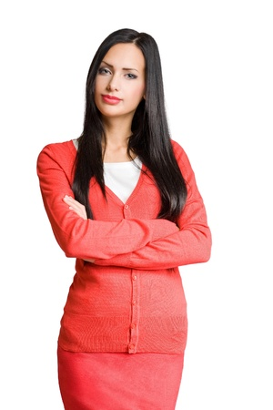 Half length portrait of a brunette beautiful businesswoman. photo