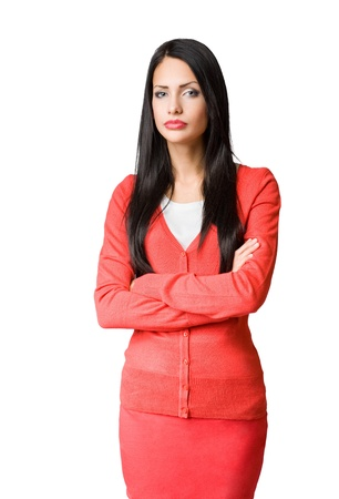 gorgeous businesswoman: Gorgeous brunette businesswoman isolated on white background.