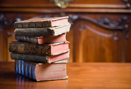 collectors: Beautiful antique books in very elegant setting. Stock Photo
