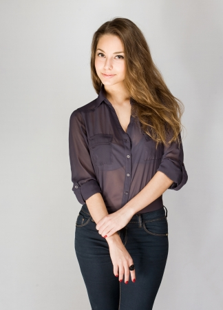 beautiful brunette: Portrait of an attractive fashionable young brunette woman.