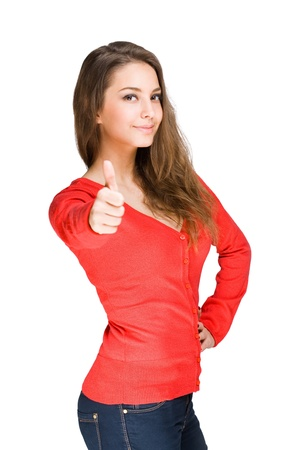 Gorgeous young brunette showing big thumbs up on white background