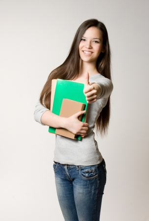 Portrait of attractive cute young student girl  photo