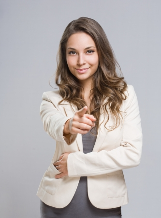 fingers on top: Portrait of relaxed looking, elegant young brunette woman  Stock Photo